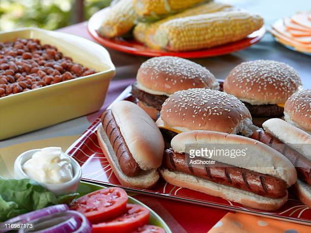 picnic - hamburger stock pictures, royalty-free photos & images