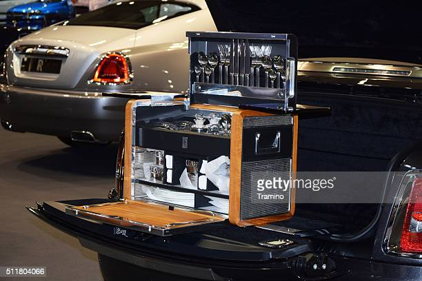 Picnic set in the Rolls-Royce on the motor show