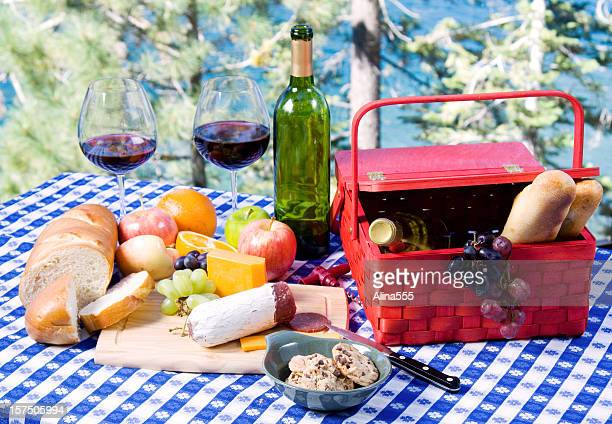 Picnic set up by the lake