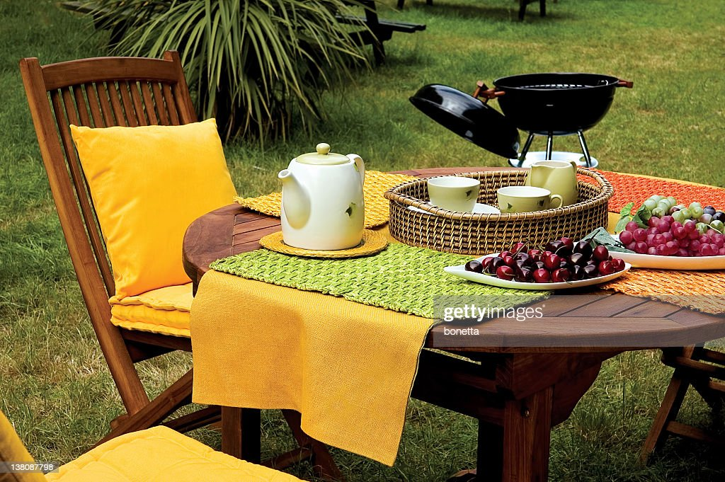 picnic table and barbecue on garden : Stock Photo