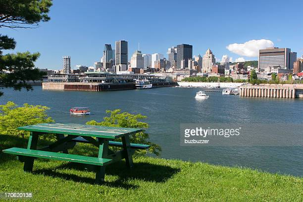 picnic table in a montreal city park - river st lawrence stock pictures, royalty-free photos & images
