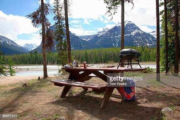 Picnic table in mountain campground