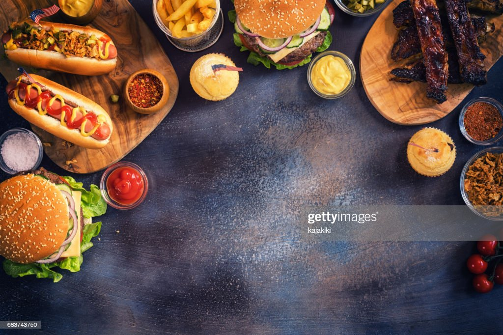 Picnic Table to Celebrate 4th of July : Stock Photo