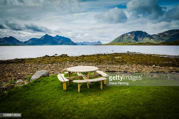 Picnic table with a view, Vesteralen, Norway