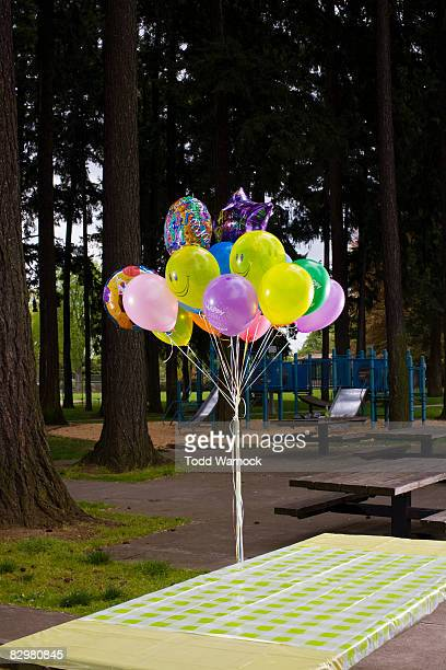 picnic table with ballons