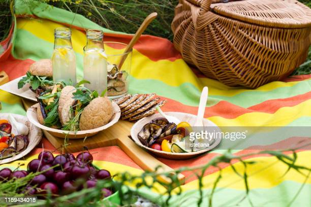 picnic with fresh vegan dishes in summer park - picnic stock pictures, royalty-free photos & images