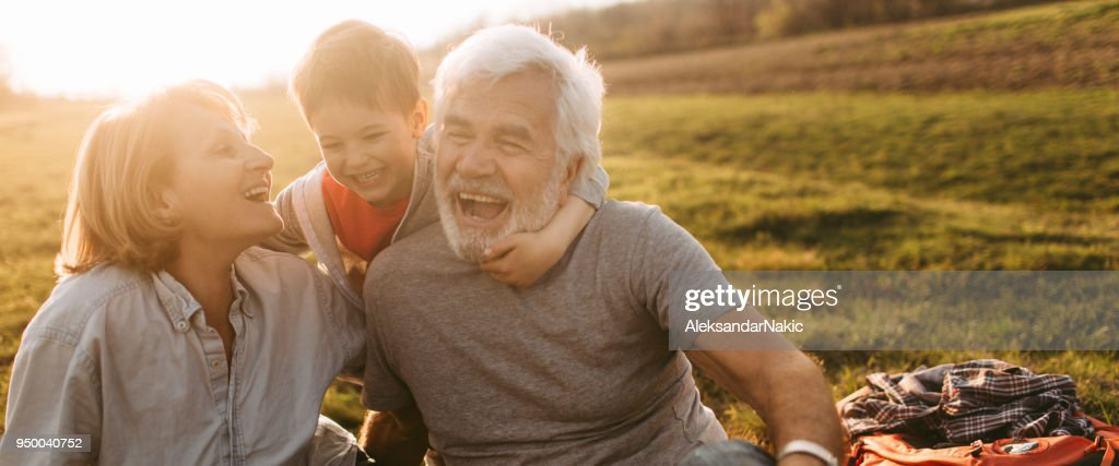 Picnic with my grandparents : Stock Photo