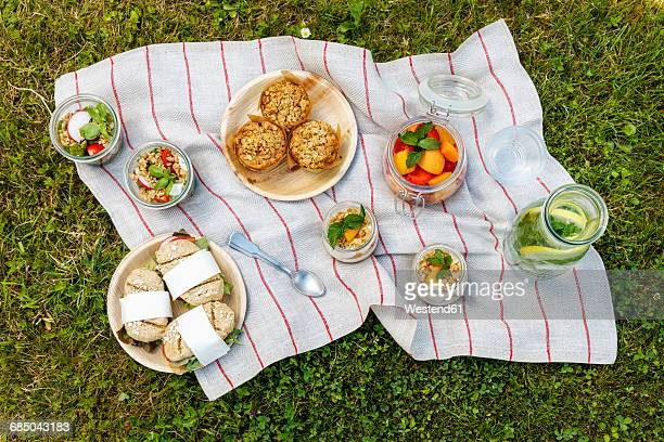 picnic with vegetarian snacks on meadow - picknick stock-fotos und bilder