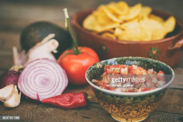 pico de gallo style salsa - salsa sauce stock photos and pictures