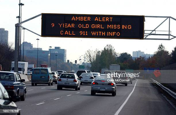 10/20/03 pics of amber alert sign for missing 9 yrold on rthe dvp southbound just south of york mills