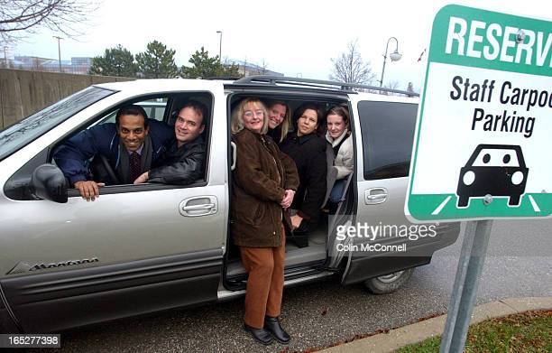 12/10/03 pics of car pooling or van pooling in markham a trial test taht lets workers pool in from pickering shots of the poolers with the van l to r...