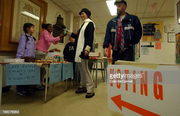 11/10/03 pics of grds 5 and 6 kids at morse public school helping to keep voters from gettting hungry while raising money for their field trip to...