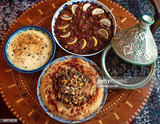 09/08/03 TORONTO ONTARIO pics of habeeb salloum and his authentic couscous and tajine dishes pics of dishes alone together and with habeeb
