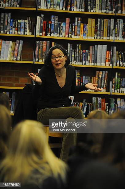 pics of meg tilly former actress who is now an author reads her book to young adults at brookbanks library