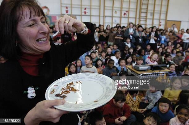 21/12/06 pics of principal of dallington public school / danila duliunas who after challenging her students to raise 500lb of food for the food bank...