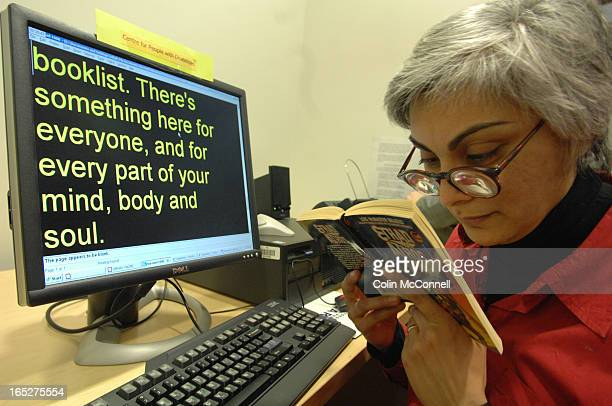 pics of sheyfali saujani who is legally blind at the centre for people with disabilities in the toronto reference library showing how new...