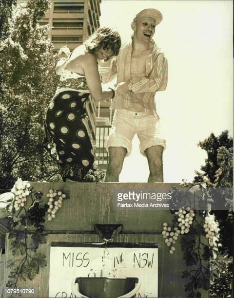 Pics taken in Hyde Park of Lindsay Kemp and actress Shirley Abicair who are pictured pressing grapes for the Wine quest.They were two of the many...