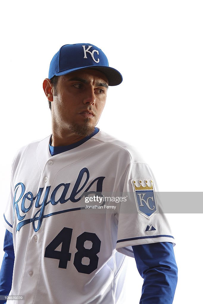 Picther Joakim Soria #48 of the Kansas City Royals poses for a portrait during Spring Training Media Day on February 23, 2011 at Suprise Stadium in Surprise, Arizona..