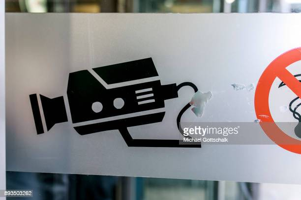 A pictogram of a security camera indicates the area for automatic recognition of faces at trainstation Suedkreuz on December 15 2017 in Berlin Germany
