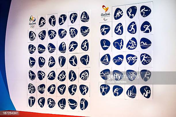 Pictograms for the Rio 2016 Olympic and Paralympic Games are displayed during their launch at Lagoon on November 07 2013 in Rio de Janeiro Brazil The...