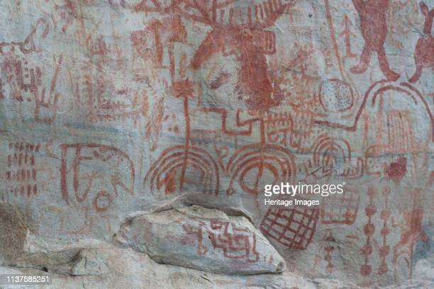 Pictography, Rock Painting, Pictograms, despicting hunting scenes, antropomorphic and zoomorphic figures, symbols and other graphics. Located in the...