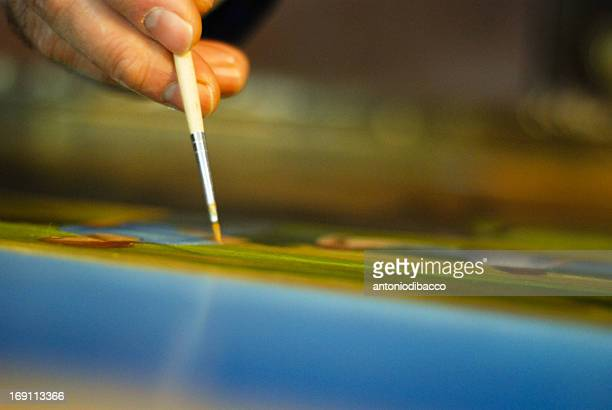 pictor paint the canvas with the brush - dedizione stock pictures, royalty-free photos & images