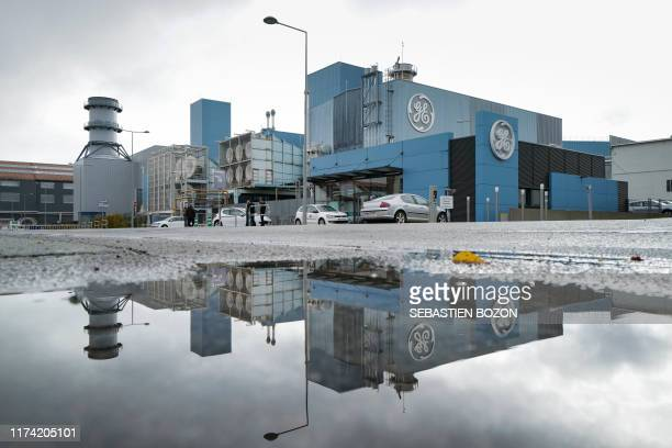 Pictuer shows a view of the General Electric plant in Belfort, eastern France, on October 7, 2019. - The management of General Electric in Belfort...