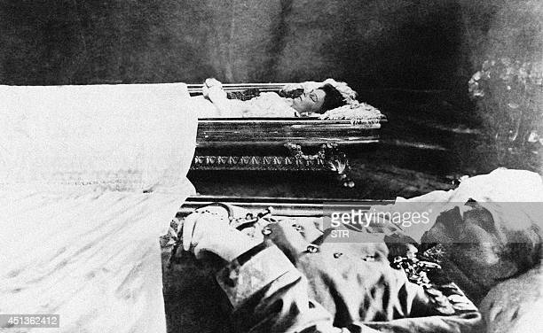 A picture acquired from the Historical Archives of Sarajevo on June 28 2014 shows the bodies of Archduke Franz Ferdinand and his wife Sophia layed...
