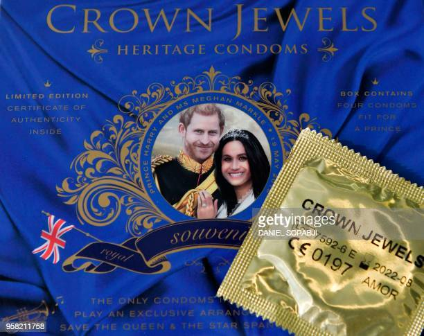 Picture arranged as an illustration shows a box of Crown Jewels condoms limited edition unofficial Royal Wedding souvenir box celebrating the...