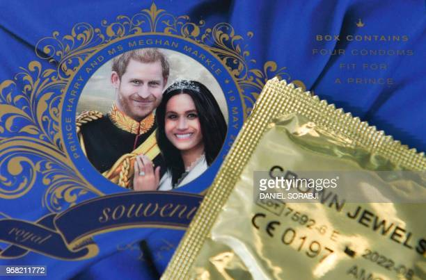 A picture arranged as an illustration shows a box of Crown Jewels condoms limited edition unofficial Royal Wedding souvenir box celebrating the...