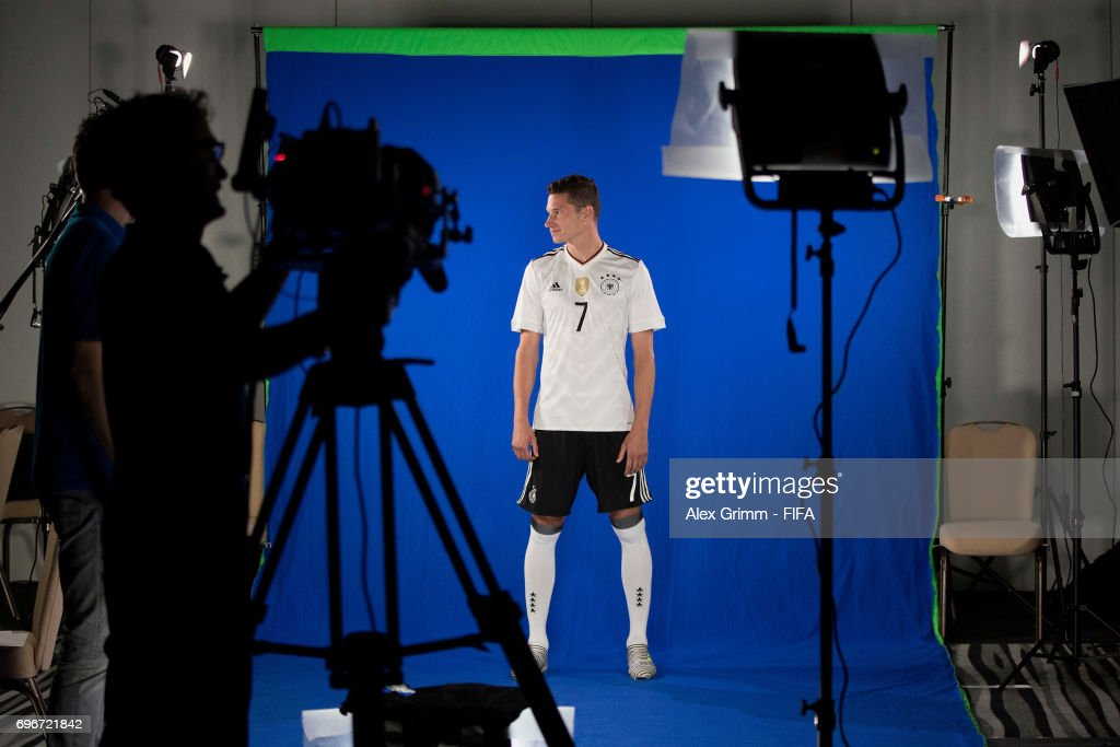 A picture behind the scenes as Julian Draxler poses for a filming shoot during the Germany team portrait session on June 16, 2017 in Sochi, Russia.