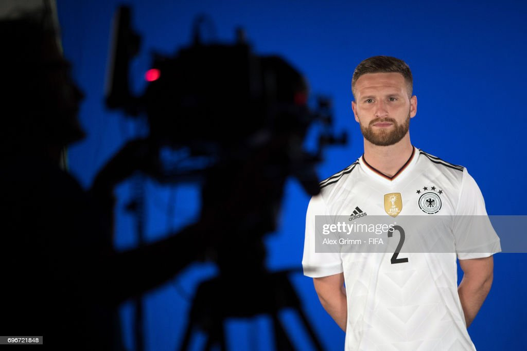 A picture behind the scenes as Shkodran Mustafi poses for a filming shoot during the Germany team portrait session on June 16, 2017 in Sochi, Russia.