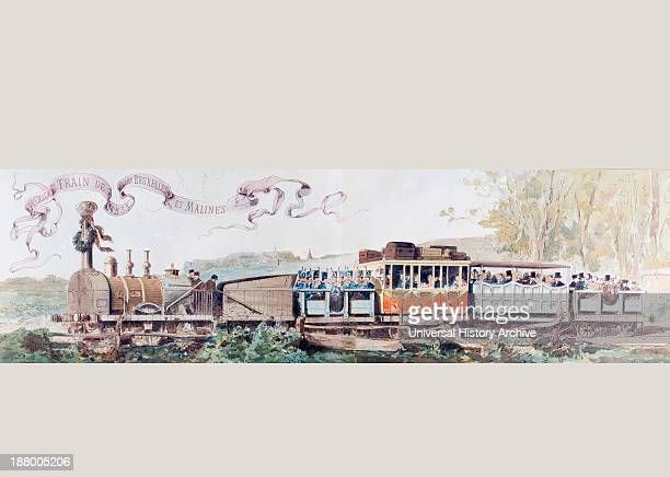 Picture Celebrating 50 Years Of The Belgian Railway System 1835 To 1885 After A Watercolour By A Heins From Cortege Historique Des Moyens De...