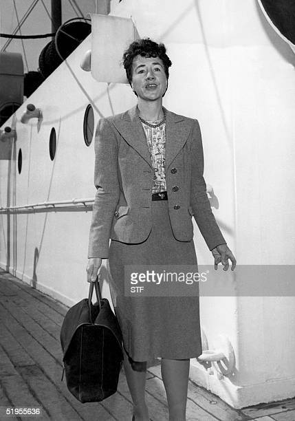 Picture circa 1950's of Anne Lindbergh wife of Charles A Lindbergh on the deck of the liner De Grasse arriving in New York after a twomonth visit to...