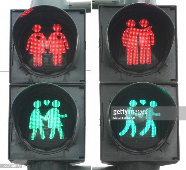 A picture combo showing two traffic lights with the motives of homosexual couples in the Konstablerwache square in Frankfurt am Main Germany 14 July...