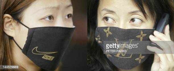 Picture combo shows the latest fashion trend in designer label mad Hong Kong branded protective masks worn to protect against a killer outbreak of...