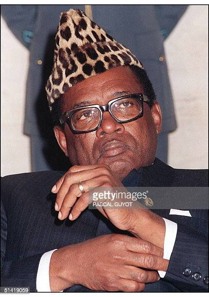 Picture dated 01 October 1988 shows Zairean President Mobutu Sese Seko Zaire edger closer to anarchy 17 May after the armed forces chief of staff was...