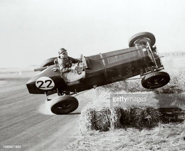 Picture dated 02 October 1948 of a pilot G Ansell turning a somersault during the International Grand Prix at Silverstone Although the car turned...