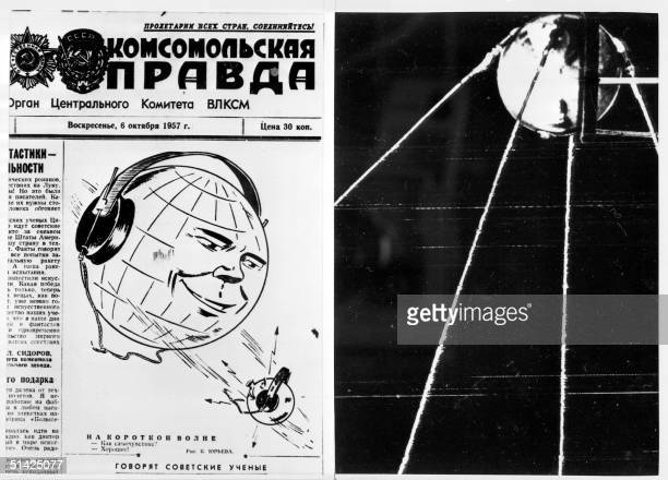 Picture dated 06 October 1957 shows the frontpage of the Sovietic newspaper Pravda after the launch of world's first satellite On October 04 1957 the...