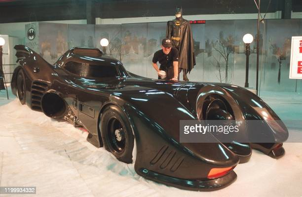 Picture dated 10 december of a technician making final touches on the batmobile 10 December before a trade fair in Taipei