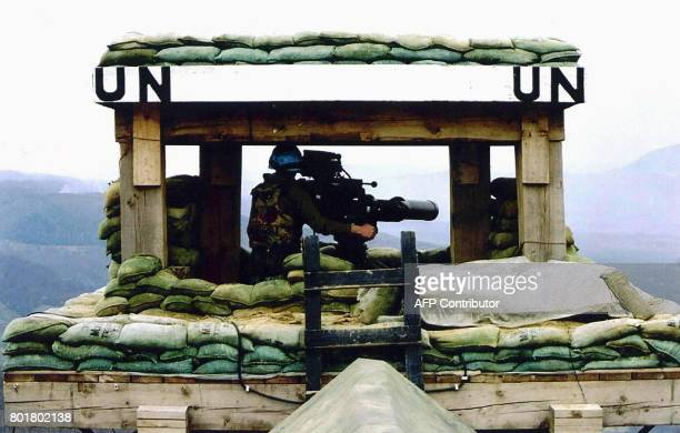 Picture dated 10 July 1995 of one of the posts of Dutch UN troops near the Moslem enclave and UN safe area of Srebrenica before Serb forces brushed...