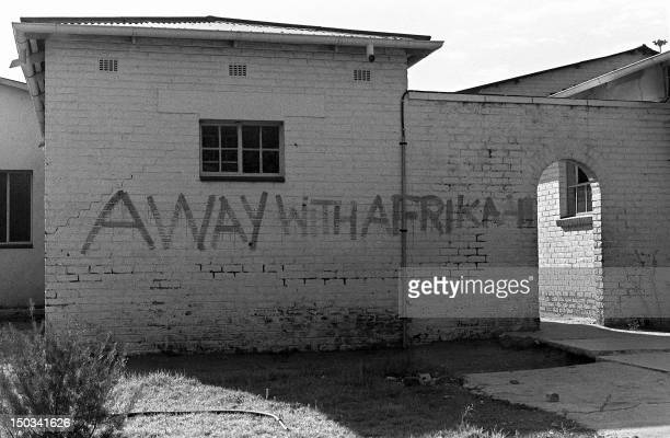 """Picture dated 11 May 1977 of a wall reading """"Away With Afrikaans"""" at the Orlando High School in Soweto, South Africa, when students returned to..."""