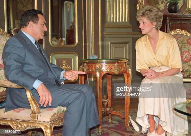 Picture dated 12 May 1992 of Princess of Wales listening to Egyptian President Hosni Mubarak during her visit in Egypt. Diana, Princess of wales,...