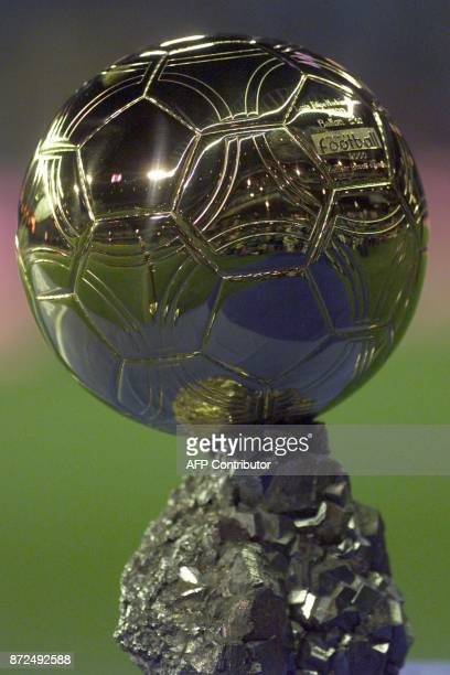 Picture dated 14 January 2001 of the 'ballon d'or' of best player who has been awarded to Portugese Luis Figo before the League football match Real...