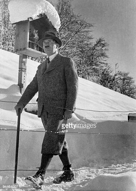 Picture dated 15 February 1938 of German Nazi leader Adolf Hitler walking in the snow in the Bavarian mountains After Hitler was made Chancellor in...