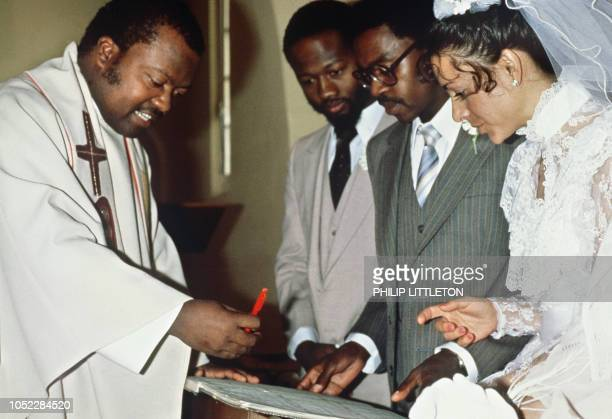 Picture dated 15 June 1985 of the wedding of Protas Madlala and American Susan Leclerc the first mixed wedding in South Africa after the laws banning...