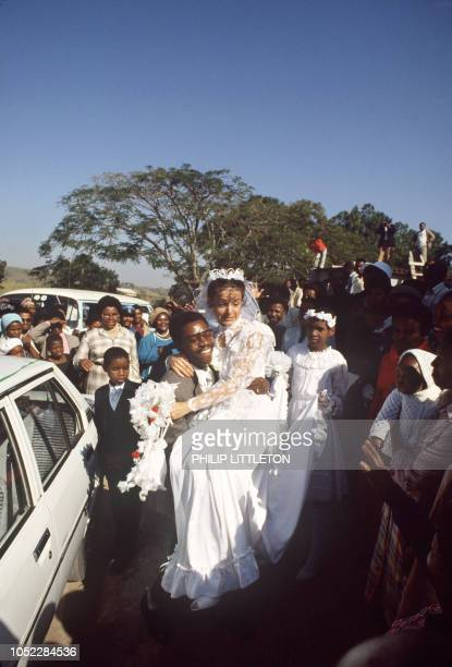 Picture dated 15 June 1985 of the wedding of Protas Madlala and American Susan Leclerc which is the first mixed wedding in South Africa after the...