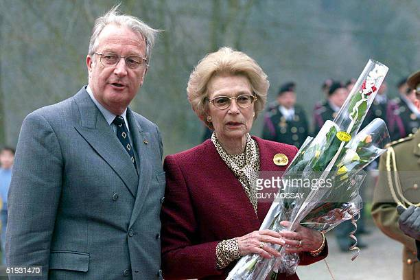 A picture dated 18 March 1999 shows Grand Duchess of Luxembourg JosephineCharlotte with her brother King Albert II of Belgium during a visit to...