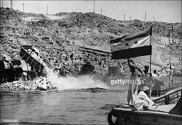 Picture dated 1960 showing the construction of the Aswan high dam in Egypt. The construction of the Aswan High Dam was initiated by Gamal Abdel...