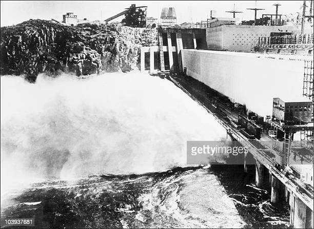 Picture dated 1967 showing the first watering of the Aswan high dam in Egypt. The construction of the Aswan High Dam was initiated by Gamal Abdel...